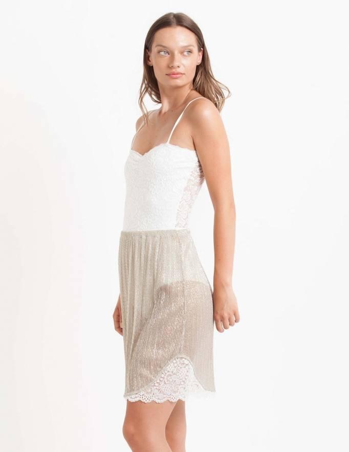 Alef Alef | אלף אלף - בגדי מעצבים | חצאית Suki זהב פליסה