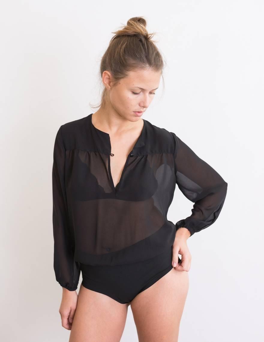Alef Alef | אלף אלף - בגדי מעצבים | בגד גוף Aidy שחור שקוף