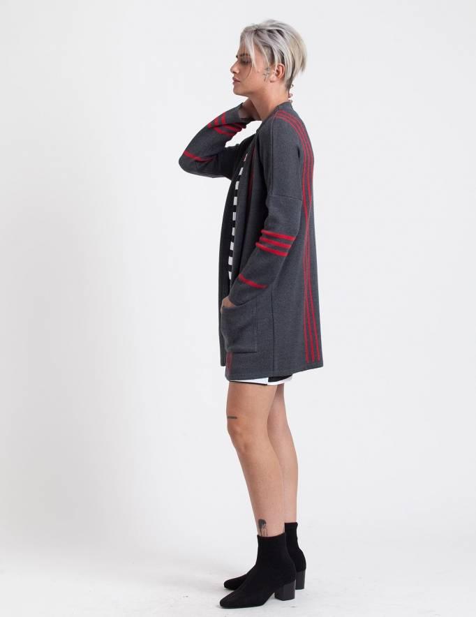 Alef Alef   אלף אלף - בגדי מעצבים   עליונית Mimi Rose אפור אדום