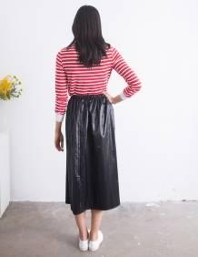 Alef Alef   אלף אלף - בגדי מעצבים   חצאית Cameron שחור מבריק