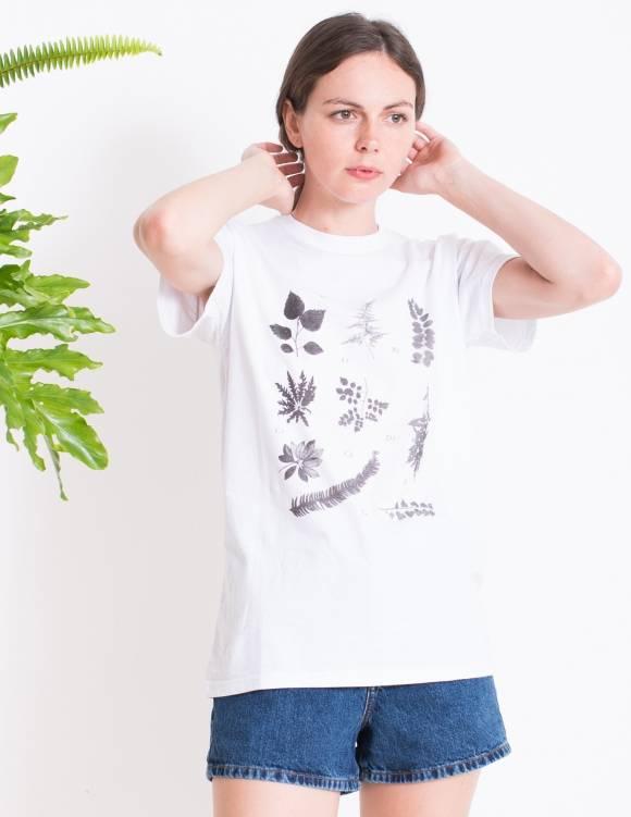 Alef Alef   אלף אלף - בגדי מעצבים   חולצת FLORA B  לבן דפוס שחור