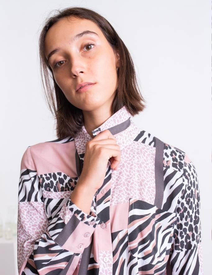 Alef Alef | אלף אלף - בגדי מעצבים | חולצת Margo דפוס משולב