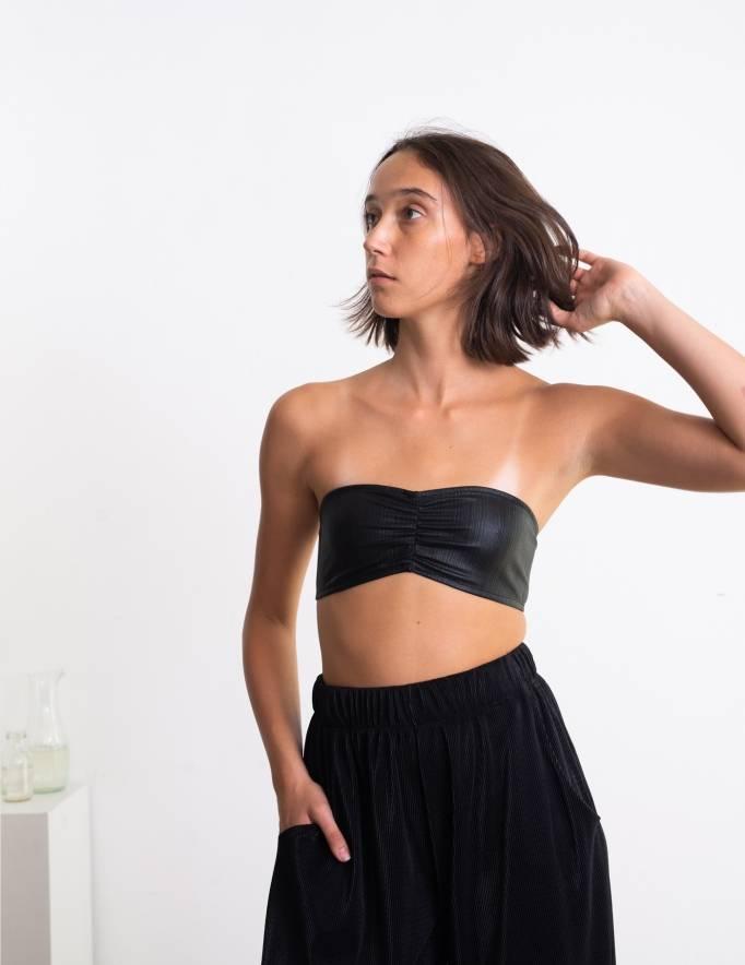 Alef Alef | אלף אלף - בגדי מעצבים | חזיית סטרפלס Neeo שחור טקסטורה