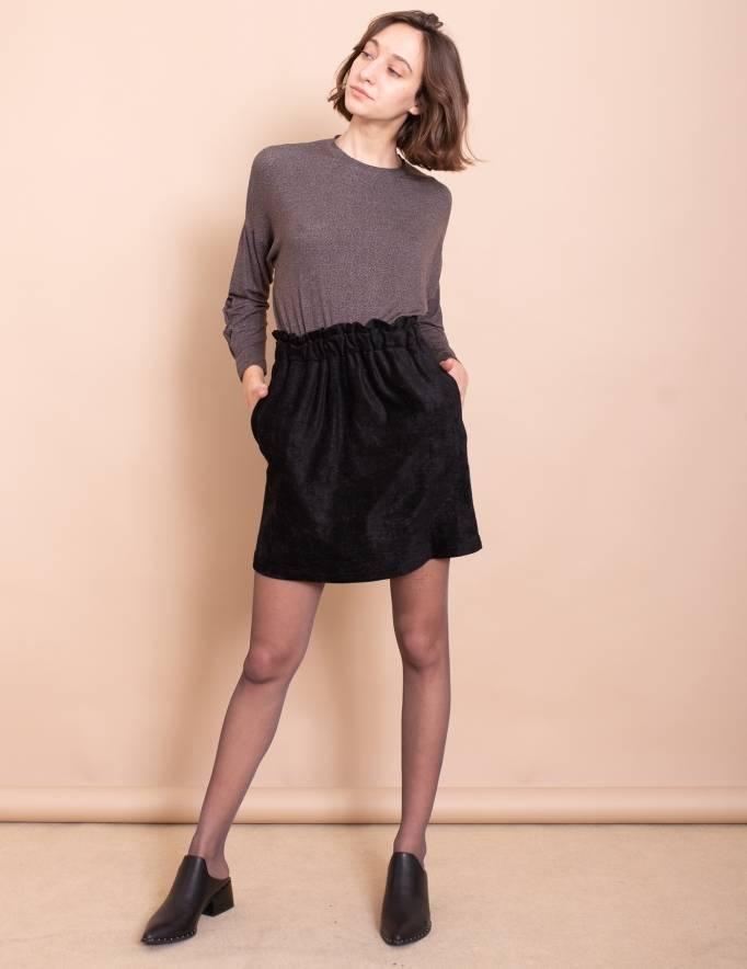 Alef Alef | אלף אלף - בגדי מעצבים | חצאית Gorgia שחור טקסטורה