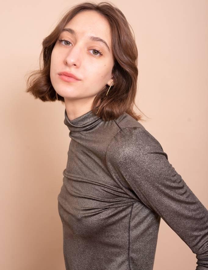 Alef Alef   אלף אלף - בגדי מעצבים   חולצת Amy שחור זהב