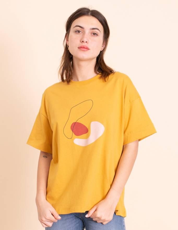 Alef Alef   אלף אלף - בגדי מעצבים   חולצת Odessa חרדל הדפס
