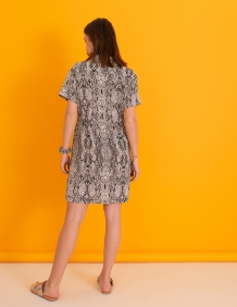 Alef Alef   אלף אלף - בגדי מעצבים   שמלת Wham! לבן דפוס אפור