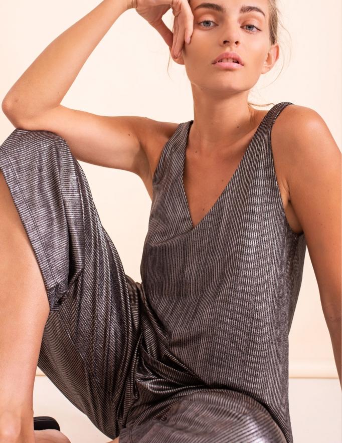 Alef Alef | אלף אלף - בגדי מעצבים | מכנסי kevin  שחור כסף