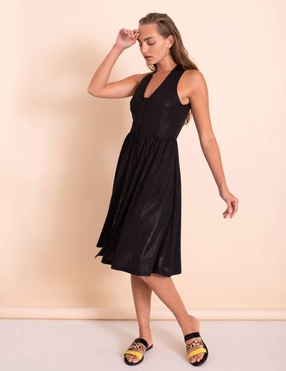 Alef Alef   אלף אלף - בגדי מעצבים   שמלת Ashley שחור נצנץ
