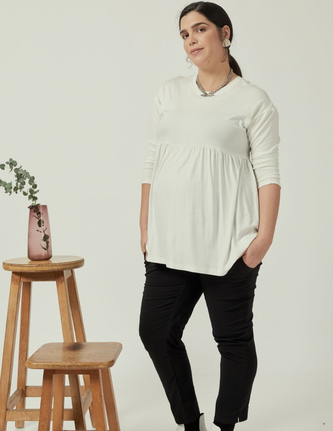 Alef Alef | אלף אלף - בגדי מעצבים | חולצת Ina | לבן מבריק