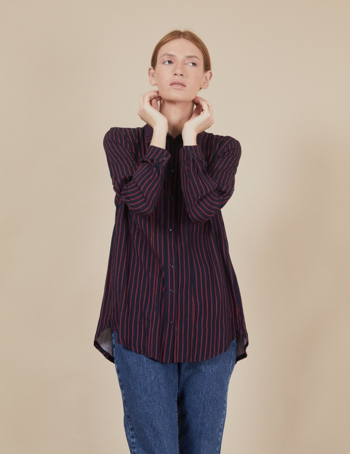 Alef Alef | אלף אלף - בגדי מעצבים | חולצת Joan | כחול פס אדום