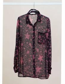 Alef Alef | אלף אלף - בגדי מעצבים | Sample | חולצת שיפון מכופתרת דפוס כוכבים