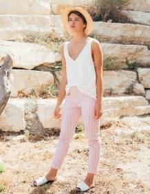 Alef Alef   אלף אלף - בגדי מעצבים   מכנסי Leon ורוד פס לבן