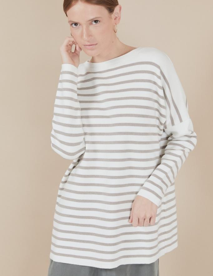 Alef Alef | אלף אלף - בגדי מעצבים | סוודר Rom | פסים מוקה