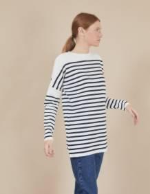 Alef Alef   אלף אלף - בגדי מעצבים   סוודר Rom   פסים כחול לבן