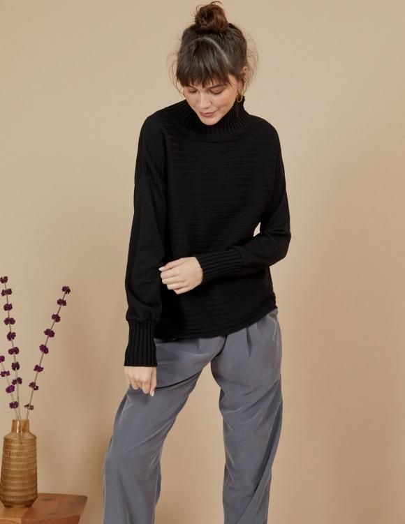 Alef Alef | אלף אלף - בגדי מעצבים | סוודר Pedro שחור