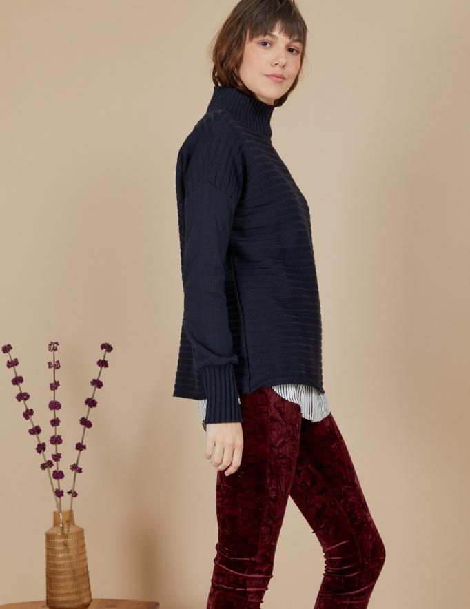 Alef Alef | אלף אלף - בגדי מעצבים | סוודר Pedro נייבי