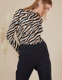 Alef Alef | אלף אלף - בגדי מעצבים | חולצת Susan | זברה בז'-שחור