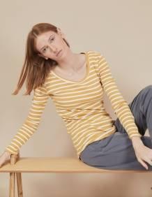 Alef Alef | אלף אלף - בגדי מעצבים | חולצת Tamar | פסים חרדל