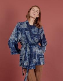 Alef Alef   אלף אלף - בגדי מעצבים   קימונו Valentina כחול הדפס לבן