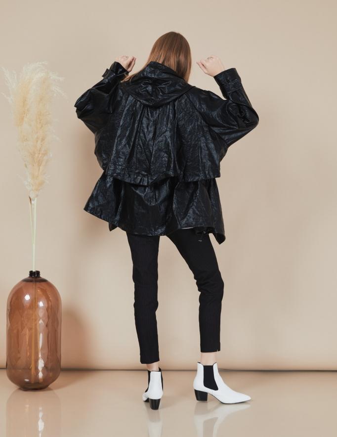Alef Alef   אלף אלף - בגדי מעצבים   מעיל Victoria   שחור מבריק