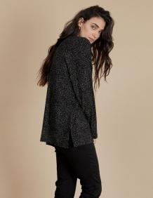 Alef Alef   אלף אלף - בגדי מעצבים   חולצת Angela שחור דפוס בז'