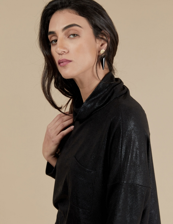 Alef Alef | אלף אלף - בגדי מעצבים | חולצת Mae | שחור מבריק