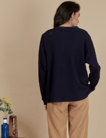 Alef Alef   אלף אלף - בגדי מעצבים   חולצת Greta נייבי