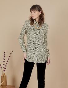 Alef Alef | אלף אלף - בגדי מעצבים | חולצת Joan | בז' דפוס שחור