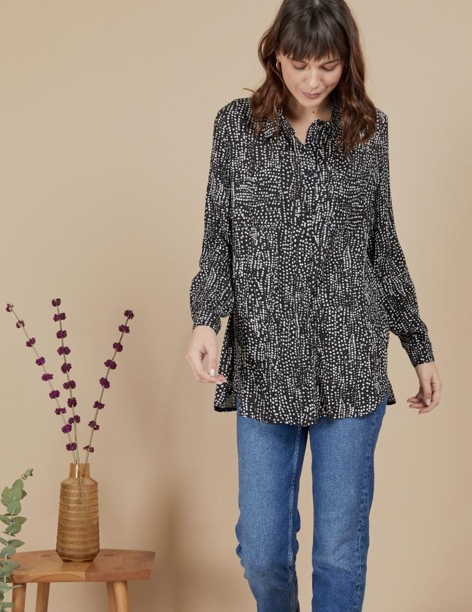Alef Alef   אלף אלף - בגדי מעצבים   חולצת Joan   שחור דפוס לבן