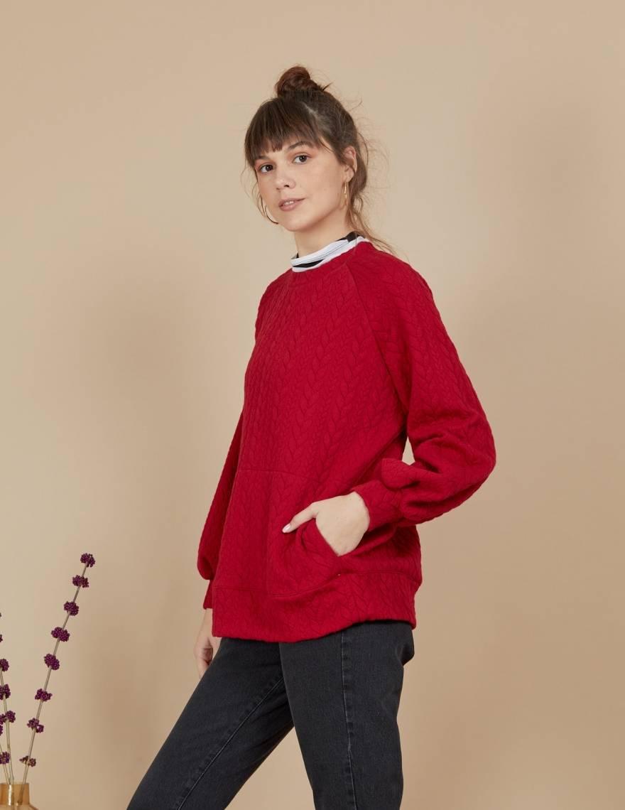 Alef Alef | אלף אלף - בגדי מעצבים | סווטשירט Magie אדום
