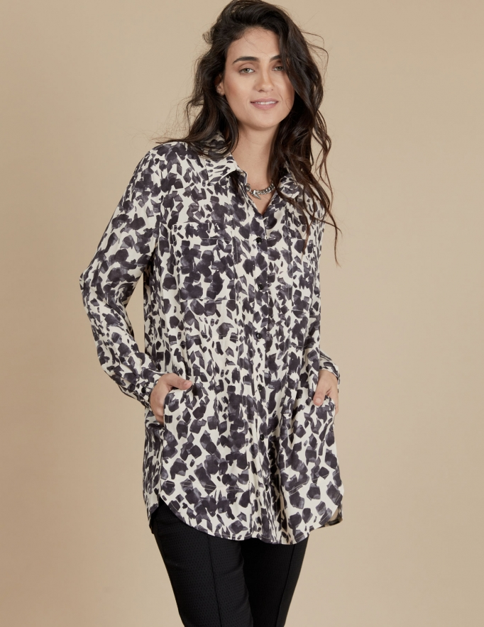 Alef Alef | אלף אלף - בגדי מעצבים | חולצת Joan | ניוד מודפס