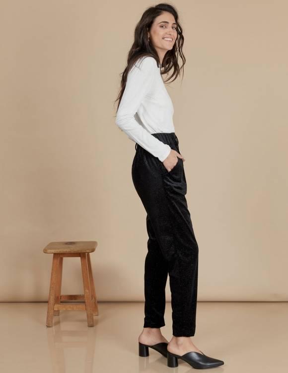 Alef Alef | אלף אלף - בגדי מעצבים | מכנסי Katya שחור נצנץ