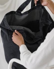 Alef Alef   אלף אלף - בגדי מעצבים   תיק Giant Tote // Baggu שחור משופשף