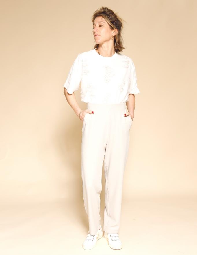 Alef Alef | אלף אלף - בגדי מעצבים | מכנסי Brown אבן טקסטורה