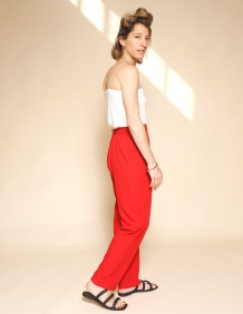 Alef Alef | אלף אלף - בגדי מעצבים | מכנסי Brown אדום טקסטורה