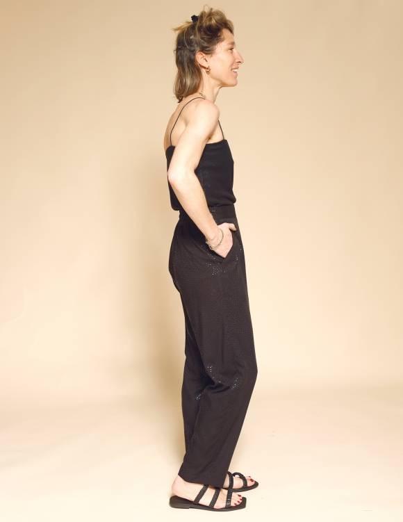 Alef Alef | אלף אלף - בגדי מעצבים | מכנסי Brown שחור משולשים