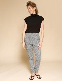 Alef Alef | אלף אלף - בגדי מעצבים | מכנסי Dayan דפוס שחור לבן