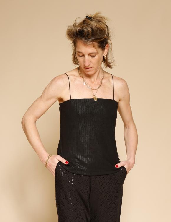 Alef Alef | אלף אלף - בגדי מעצבים | גופית Fein שחור נצנץ