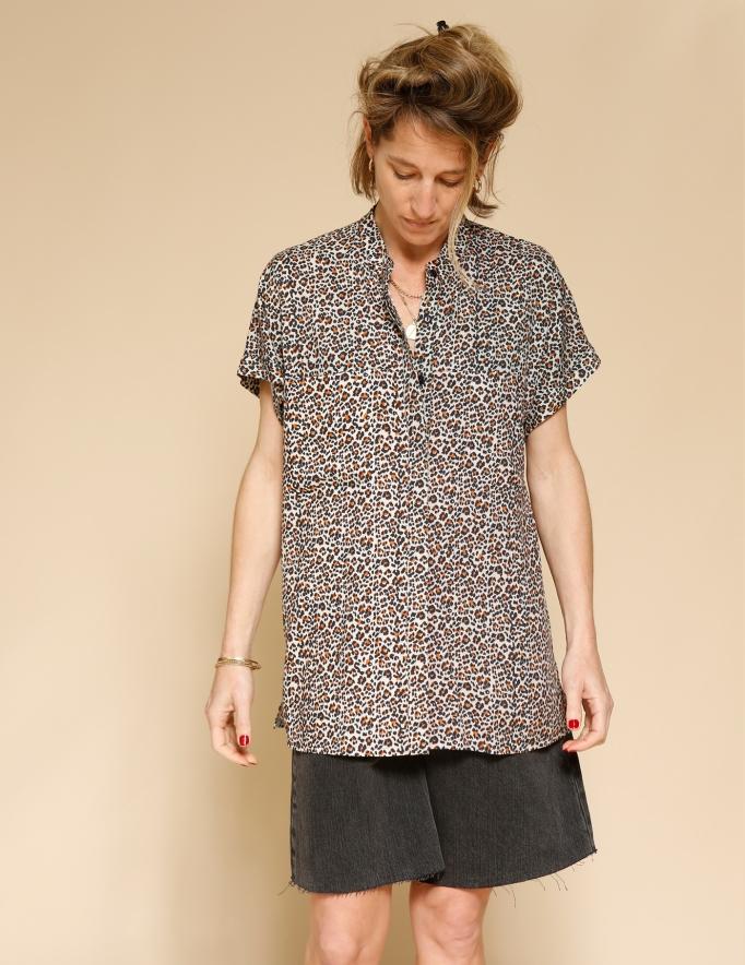 Alef Alef | אלף אלף - בגדי מעצבים | חולצת Mann מנומר/כתום