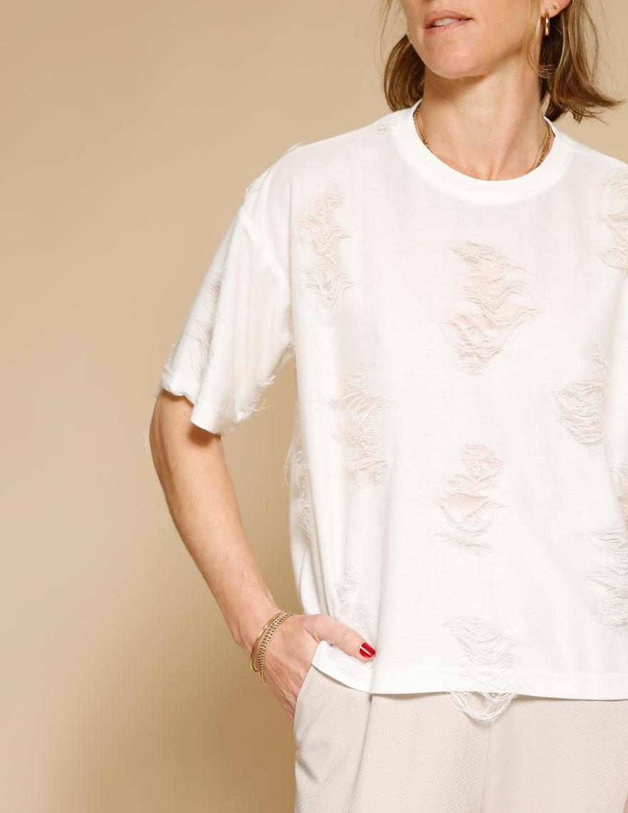 Alef Alef | אלף אלף - בגדי מעצבים | חולצת Miller שמנת קרעים