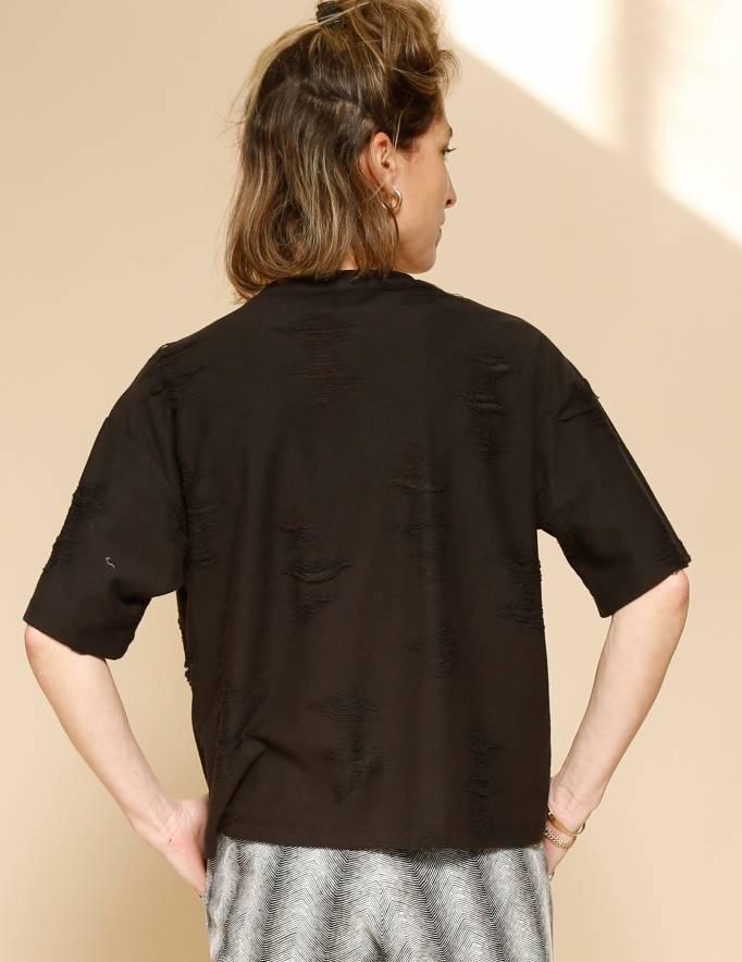 Alef Alef | אלף אלף - בגדי מעצבים | חולצת Miller שחור קרעים