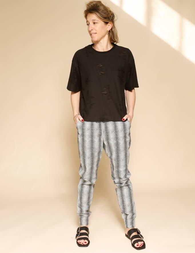 Alef Alef | אלף אלף - בגדי מעצבים | מכנסי Dayan שחור לבן/ זיגזג