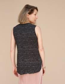 Alef Alef   אלף אלף - בגדי מעצבים   גופית LEVY שחור דפוס לבן