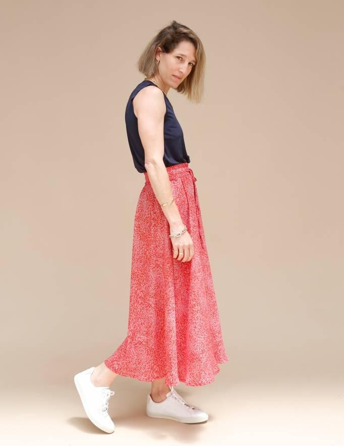 Alef Alef | אלף אלף - בגדי מעצבים | חצאית ATIAS אדום דפוס
