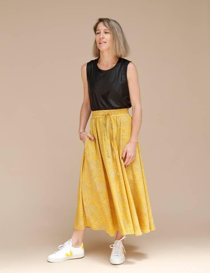Alef Alef   אלף אלף - בגדי מעצבים   חצאית ATIAS צהוב דפוס