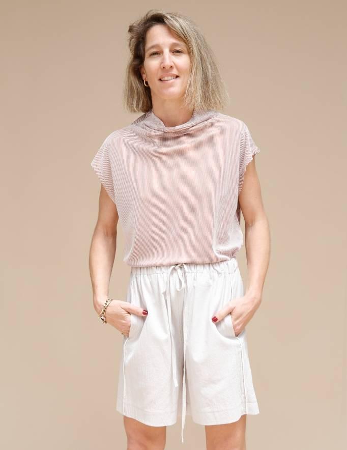 Alef Alef | אלף אלף - בגדי מעצבים | מכנסי Giladi אבן / לבן