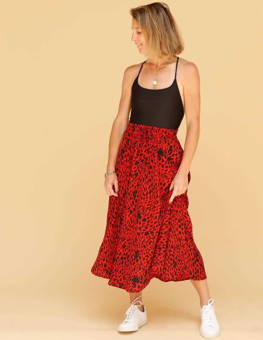 Alef Alef | אלף אלף - בגדי מעצבים | חצאית ATIAS חברבורות אדום