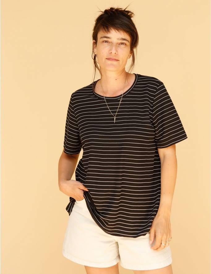 Alef Alef | אלף אלף - בגדי מעצבים | חולצת Cohen שחור פס לבן