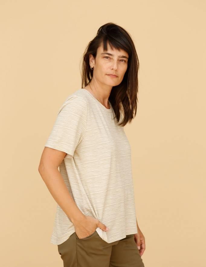 Alef Alef | אלף אלף - בגדי מעצבים | חולצת Cohen פסים חרדל